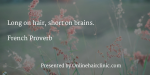 Long on hair, short on brains. French Proverb