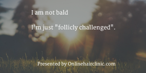 I am not bald I'm just follicly challenged.
